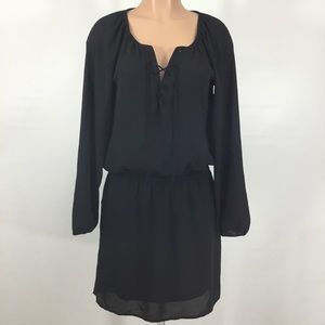 Express Tie Front Black Dress